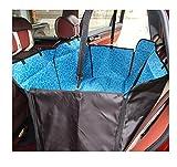 Cubierta de asiento trasera impermeable Fundas de asiento de perro duradero Viaje antideslizante con cinturón de seguridad para automóvil, Cubierta de asiento de coche para perro con aletas laterales adicionales Resistencia a la abrasión resistente a los rasguños y hamaca convertible ( Color : Blue )