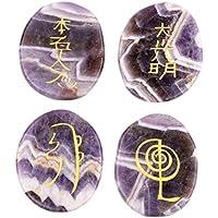 buycrafty Heilung Kristall Indischen Natürliche Natur Edelstein Amethyst Gravur Reiki Set Standard 4Stück lila... preisvergleich bei billige-tabletten.eu