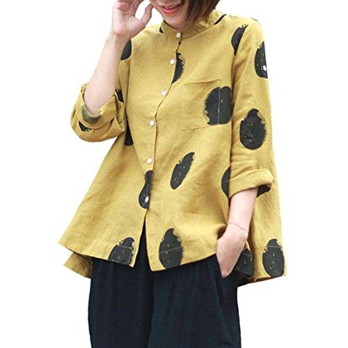 BHYDRY Frauen Plus Size Langarm Knopf Tasche Casual Tops Shirt Lose Bluse (XL,Gelb)