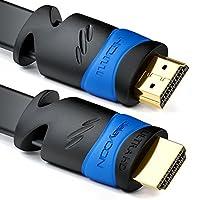 deleyCON plat câble HDMI Ce câble est particulièrement plat et est donc parfaitement adaptée pour la pose sous les tapis ou dans des gaines de câbles.  Avec des câbles HDMI deleyCON vous rencontrez des médias et du contenu jeu en détail et l'éclat sa...