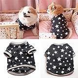 Huhuswwbin Fleece-Pullover für Hunde, mit Sternenmuster, kurzärmelig, Größe XS, Schwarz