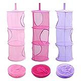LIVEHITOP 3 piezas Red de malla de almacenamiento cesta, de 3 niveles plegable bolsas de ahorro de...