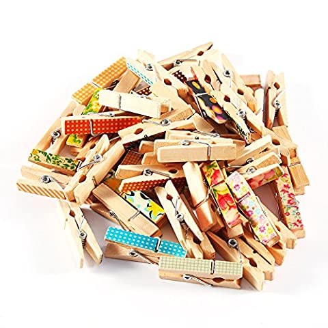 Mini Wooden Craft Clips Photo Paper Pegs Clothespin Cute Painted Colourful Clips Pack of 50, 3.5*0.7CM