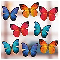 Stickers4 Set of Large Beautiful Colourful Butterflies - Static Cling Window Stickers - Home Decorations by