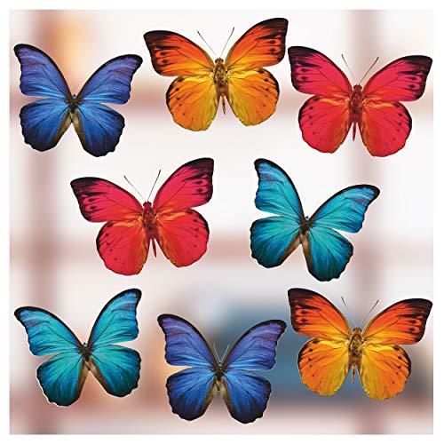 Stickers4 Schmetterlings-Fensteraufkleber zum Schutz gegen Vogelschlag - 8 schöne Schmetterlings- Glasaufkleber, doppelseitig und selbstklebend zum Schutz gegen Vogelkollisionen