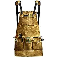 Fuloon delantal de herramientas, bolsillos portaherramientas, encerado, Equipo de soldadura, antisalpicaduras, para bricolaje/electricista/fontanero/constructor/carpintero, amarillo