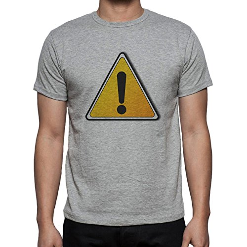 Danger Sign Warning Caution Orange Black Herren T-Shirt Grau