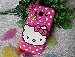 Octer Covers For Samsung Galaxy J7 Back Cover Hello Kitty Silicone With Pendant (Pink)