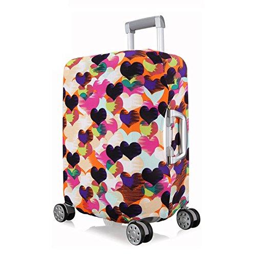 OneSky-UK Cubierta de equipaje, duradero protector lavable plegable, el tamaño del protector de la maleta se ajusta 18-28 pulgadas. (Amor corazon, M(22''))