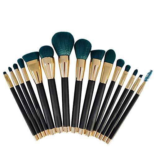 S.Y.MMSY Frauen Make-up Pinsel 15 STÜCKE Premium Synthetic Kabuki Make-Up Pinsel Set Cosmetics Foundation Blending Erröten Eyeliner Puderpinsel Weich (Color : Grün, Size : Kostenlos) -
