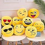 Homieco Emoji Gefüllte Plüsch Kissen Spielzeug Soft Touch Umarmung Emotion Gelb Runde Kissen 12,6 'Dekorative Heim Sofa Kissen Outdoor Auto, Lachen