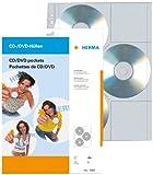 Herma 7685 CD/DVD-Hüllen für DIN A4 Ringbücher und Ordner (306,5 x 233 mm, PP-Folie, Eurolochung, 6 CDs/DVDs je Schutzhülle) transparent, 5 Stück