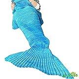 Coperta a Coda di Sirena By U-miss | Comodo Sacco a Pelo Caldo e Accogliente per Tutte le Stagioni a Forma di Sirena | 71 x 35,Blu