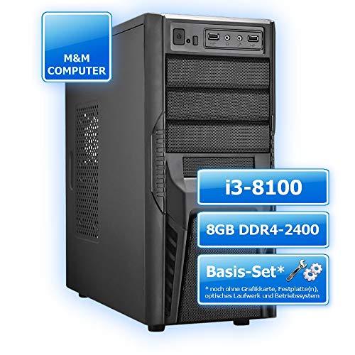 M&M Computer Dresden Aufrüst PC Intel, Intel Core i3-8100 CPU 4 Kerne, 8GB DDR4 2400MHz, Gigabyte B360M H Mainboard, montiertes Aufrüst-Set