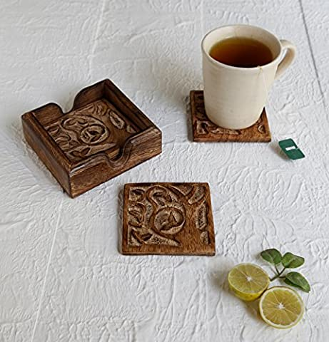 Store Indya Tree of Life Square Coasters Set of 4 with Holder Tea Coffee Beer Drink Coasters Bar Dining Party Tabletop