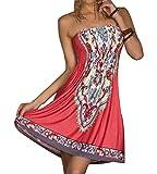 Sommerkleid Damen Bohemian Kleid Bandeau Kleider Strandkleid Tuchkleid Rot das wassermelone