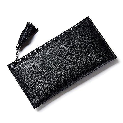 Woolala Donna Slim Portacellulare Tasca Con Cerniera Tasca Borsa Con Sacchetto Di Carta Staccabile, Viola Black