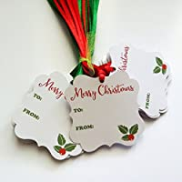 Merry Christmas Holiday Gift Tags with Red and Green Ribbon - Holly Leaves Present Tags - Set of 24