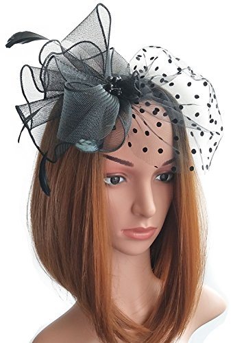 Womens Fascinators Hut Haarclip Feder Perlen Dot Schleier für Cocktail Headwear Party (Halloween Niedlichen Kostüme Diy)