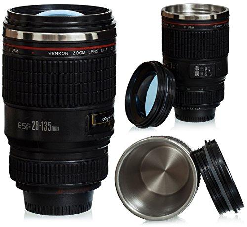 """Tasse à café couvercle lentille - Noir Modèle """"Appareil photo digital"""" env. 0.35l - Tasse gadget de voyage - Grinscard"""