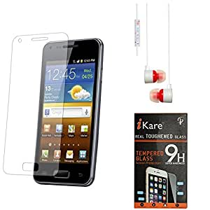 iKare Pack of 2 Premium Shatter Proof Tempered Glass Ultra Clear Screen Protector for Samsung Galaxy Grand 2 + White Stereo Earphone with Mic and Volume Control