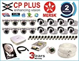 CP Plus 16 Ch HD Dvr & Mersk Full HD (2MP) CCTV Camera Kit with All Required Accessories (2 TB Hard Disk) Note : No Installation Service