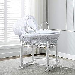 MCC Ensemble Couffin en osier blanc avec matelas, habillage couleur blanche 100% Coton gaufré et pied de couffin à bascule (Blanc)