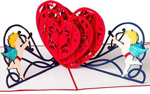 Hochzeitskarte 3D-Pop-Up, Amor-Engel mit rotem Herz, besondere, romantische Glückwunsch-Karte zur Hochzeit, Hochzeitstag, Geldgeschenke, Hochzeitsgeschenk, Einladungskarten, Liebe, originell