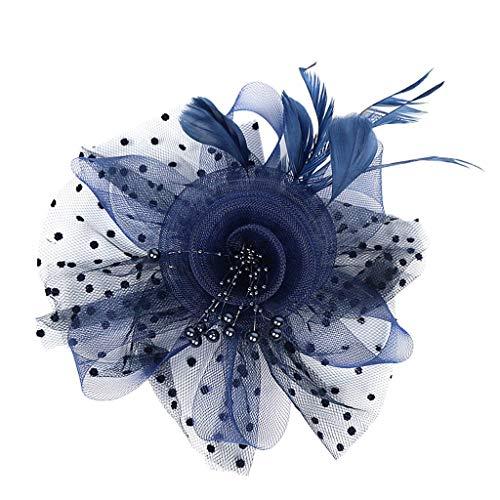 IPOTCH Fascinators Hut Blume Mesh Bänder Feder Stirnband Clip Party Headwear Haarschmuck für Mädchen und Frauen - ()