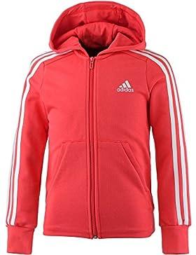 Adidas ragazza 3strisce Full Zip con cappuccio, Bambina, 3-Streifen Full-Zip, Real Coral/White/White, 164