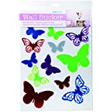 Out of the Blue Assorted Butterfly Plastic Wall Sticker, Multi-Colour, Pack of 12