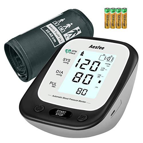 Oberarm-Blutdruckmessgerät mit Großer Manschette, Digitales Blutdruckmessgerät für den Heimgebrauch Automatischen Blutdruckmessung und Pulsmessung, Hintergrundbeleuchtetes Display & Dual-User-Modus