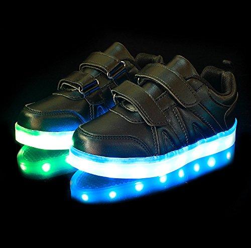 UDreamTime Jungen-Mädchen-USB-Lade-LED Sportschuhe Flashing Turnschuhe Schwarz