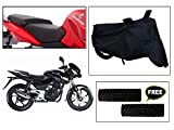 #8: Vheelocityin Combo of 72634 Black Motorcycle Body and Seat Cover with Free Acupressure Grip for Bajaj Pulsar 180