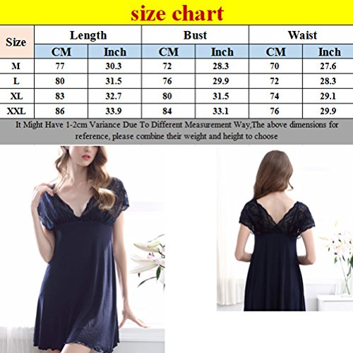 Zhhlaixing Women's Charm Deep-V Sleep Skirt Nightwear Summer Lace Pajamas Outfits Royal Blue