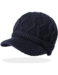Unisex Schirmmütze Mütze Strickmütze Damen Herren Skimütze mit Innenfleece in 5 Farben - A081