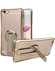 Coque iPhone 7, Rosa Schleife Ultra Slim Housse Antichoc Doucx TPU Protecteur Cover Silicone Transparente Housse Crystal Clear Case Plating edge Bumper avec Support pour iPhone 7 Or