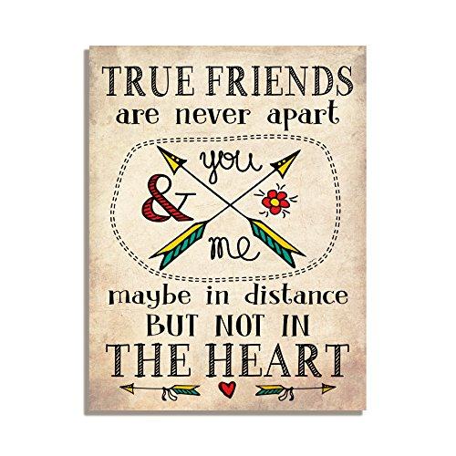 True friends are never Apart vielleicht in Distace aber nicht im Herzen niedliche Freundschaft Geschenk Kühlschrank Magnet 10,2x 7,6cm