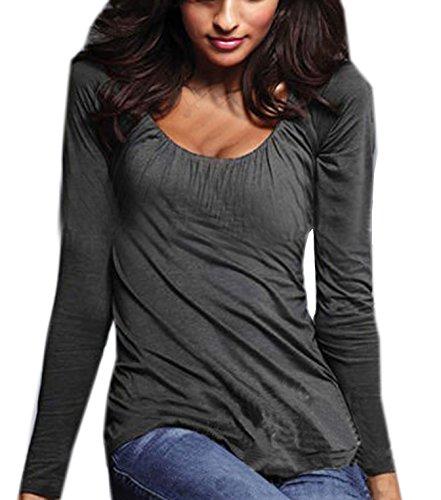 Autunno Sexy Collo a U T-shirt Donna Pieghe Shirts Maglie a manica lunga a Sottile Blusa Di Colore Solido Pullover Tops Grigio