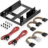 deleyCON Einbaurahmen Set für 2X 2,5' Festplatten SSD's auf 3,5' Adapter Wechselrahmen Halterung inkl. Schrauben 2 SATA Kabel & 2 Stromadapter