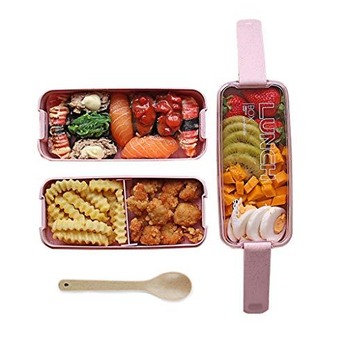 OldPAPA Japanische Bento Lunch Boxes für Erwachsene - Lunch-Container für Kinder - Food Container Storage - Lunchbox Mikrowelle Safe - aus Weizenstroh, sicher und gesund (Rosa) - Erwachsenen-lunch-box Rosa