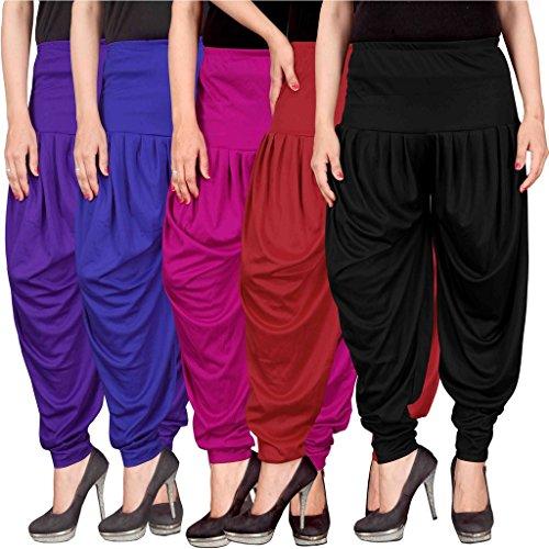 Culture the Dignity Women's Lycra Dhoti Patiala Salwar Harem Pants CTD_00VB1M1RB_2-VIOLET-BLUE-MAGENTA-RED-BLACK-FREESIZE -Combo...
