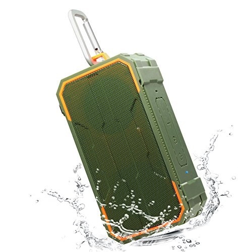 Willnorn Tragbarer Outdoor IPX6 Wasserdicht Bluetooth Lautsprecher 10W Dual-Treiber, Enhanced Bass, Eingebautes Mikrofon für iPhone, Pool, Strand, Golf, Dusche, Home - Grün (Bluetooth Dusche Lautsprecher Stereo)