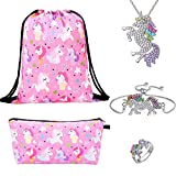 Lingpeng Unicorn Gifts For Girls 5 Pack - Unicorn Mochila con cordón / Bolsa de maquillaje / Pulsera / Collar colgante de unicornio / Anillo Unicorn