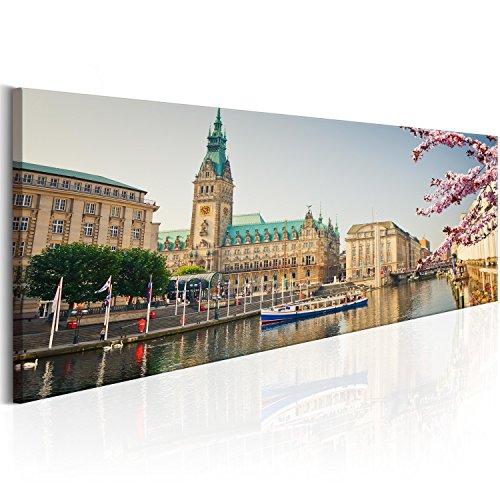 murando - Bilder Hamburg 120x40 cm Vlies Leinwandbild 1 TLG Kunstdruck modern Wandbilder XXL Wanddekoration Design Wand Bild - Stadt Hamburg Rathaus d-B-0168-b-a - Stadt Rathaus