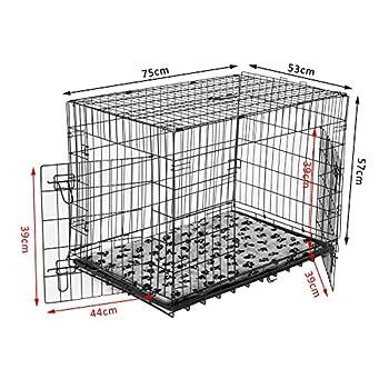 Pawhut Cage de transport pliante pour chien poignée, plateau amovible, coussin fourni 76 x 53 x 57 cm noir 32