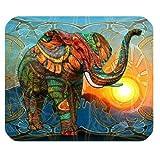 Personifizierter Kunst-Entwurfs-bunter Psychedelischer Elefant für Rechteck-Mausunterlage