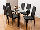 GLASS DINING TABLE SET AND 6 FAUX LEATHER CHAIRS IN 3 DISTINCTIVE DESIGNS BY SMARTDESIGNFURNISHINGS® (CLEAR BLACK)