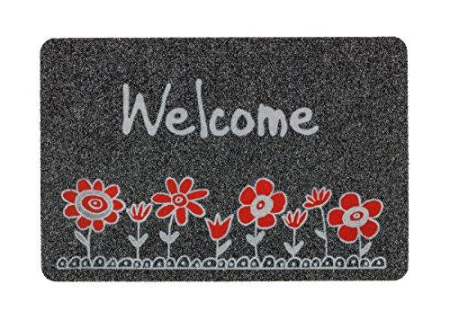 Astra 0455015191 Premium Tapis de Gros Grain Flocky Color Porte Tapis, Polypropylène, Welcome - Fleur Gris/Anthracite, 40 x 60 x 0, 8 cm