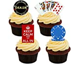 51Vwc4pGW2L. SL160  - NO.1 BETTING 24 PRECUT Las Vegas Casino Poker Chip Themed Edible Wafer Paper Round Cake Toppers Decorations